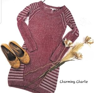 💝 Charming Charlie- Red Sweater Tunic Cardigan S
